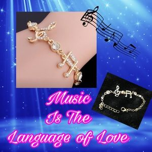 Jewelry - Gold Plated Musical Note Bling Bracelet